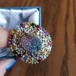 Colorful Fashion Ring * NIB * Rainbow Quartz